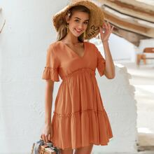 Tie Backless Frill Detail Smock Dress