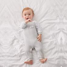 Baby Boy Cartoon Fox Patched Striped Jumpsuit