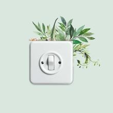 Pegatina de interruptor de luz con estampado de planta