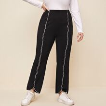 Plus Lettuce Trimed Elastic Waist Pants