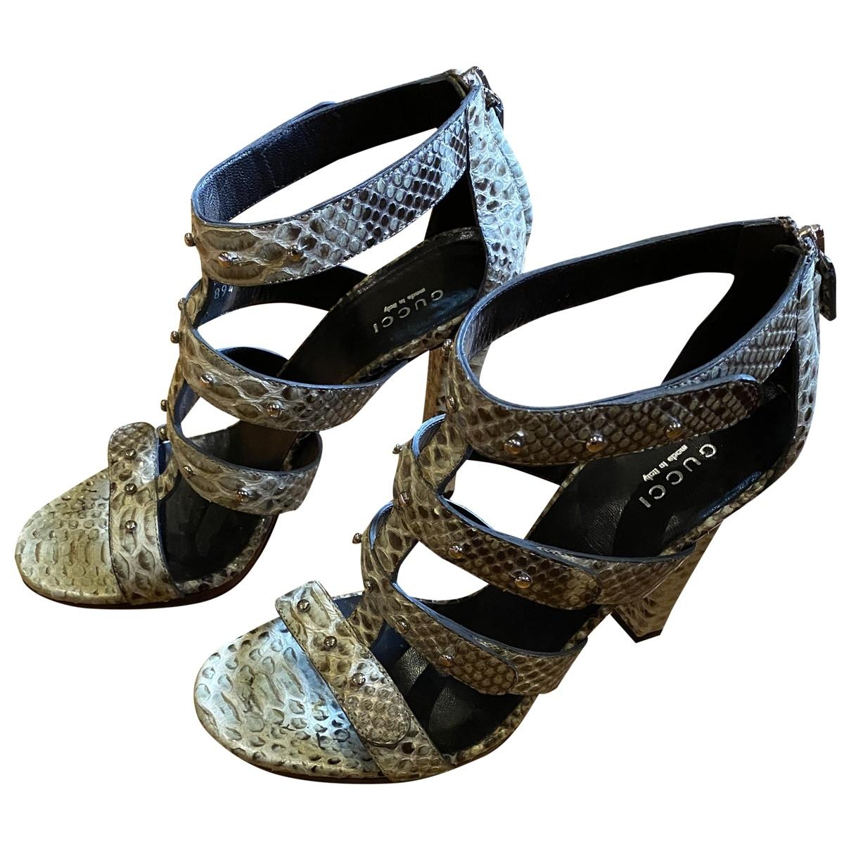 Gucci \N Beige Python Sandals for Women 37.5 EU