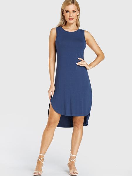 YOINS Navy High-low Hem Round Neck Sleeveless Dress