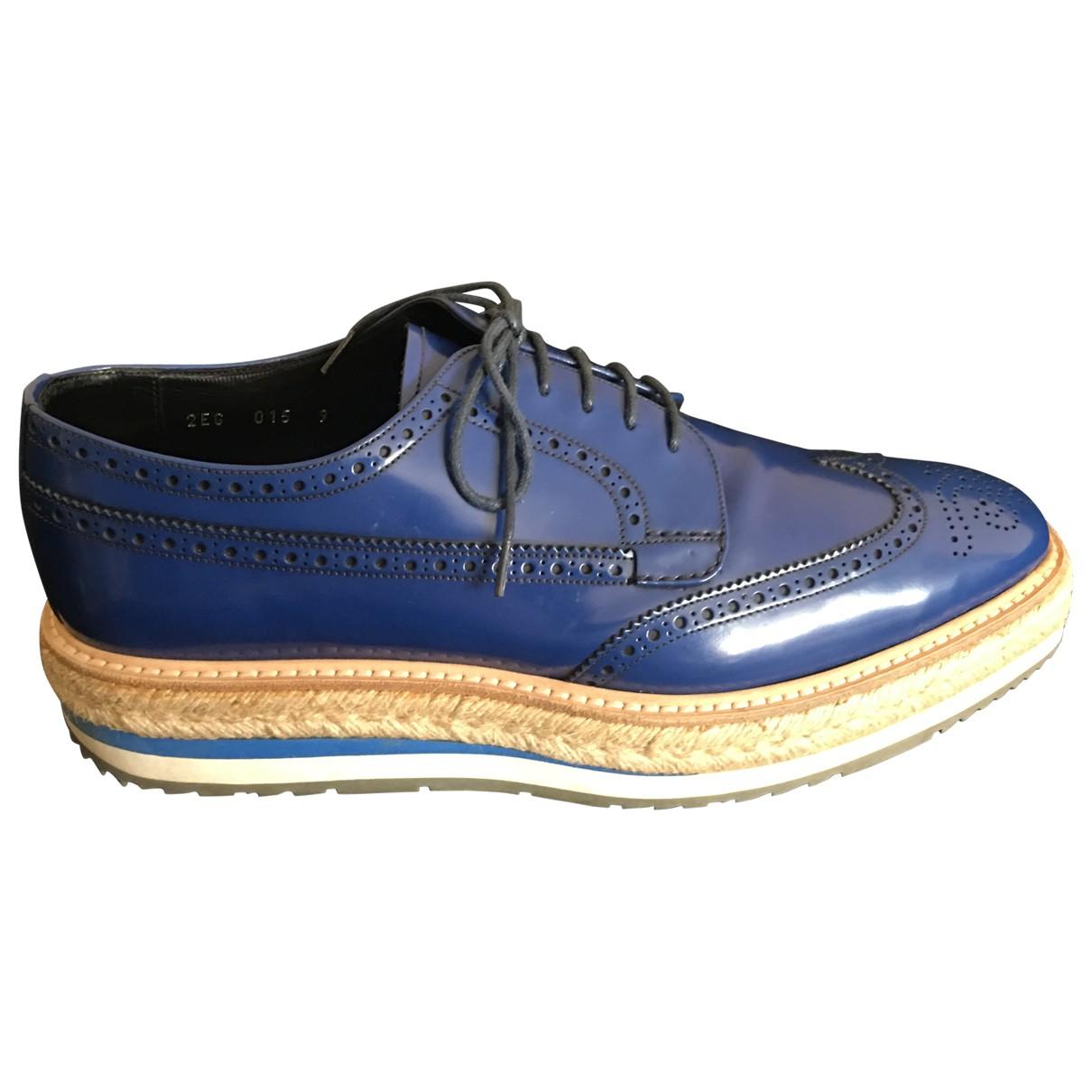 Prada \N Navy Leather Lace ups for Men 9 UK