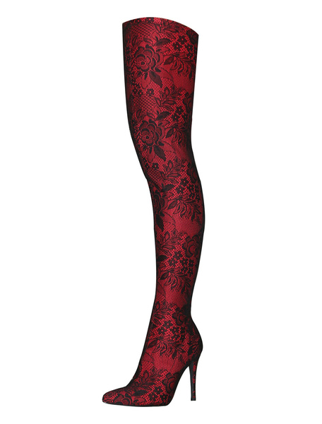 Milanoo Thigh High Boots Womens Lace Printed Pointed Toe Stiletto Heel Over The Knee Boots