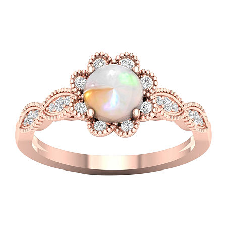 Womens Lab Created Opal 10K Rose Gold Over Silver Halo Cocktail Ring, 8 1/2 , No Color Family