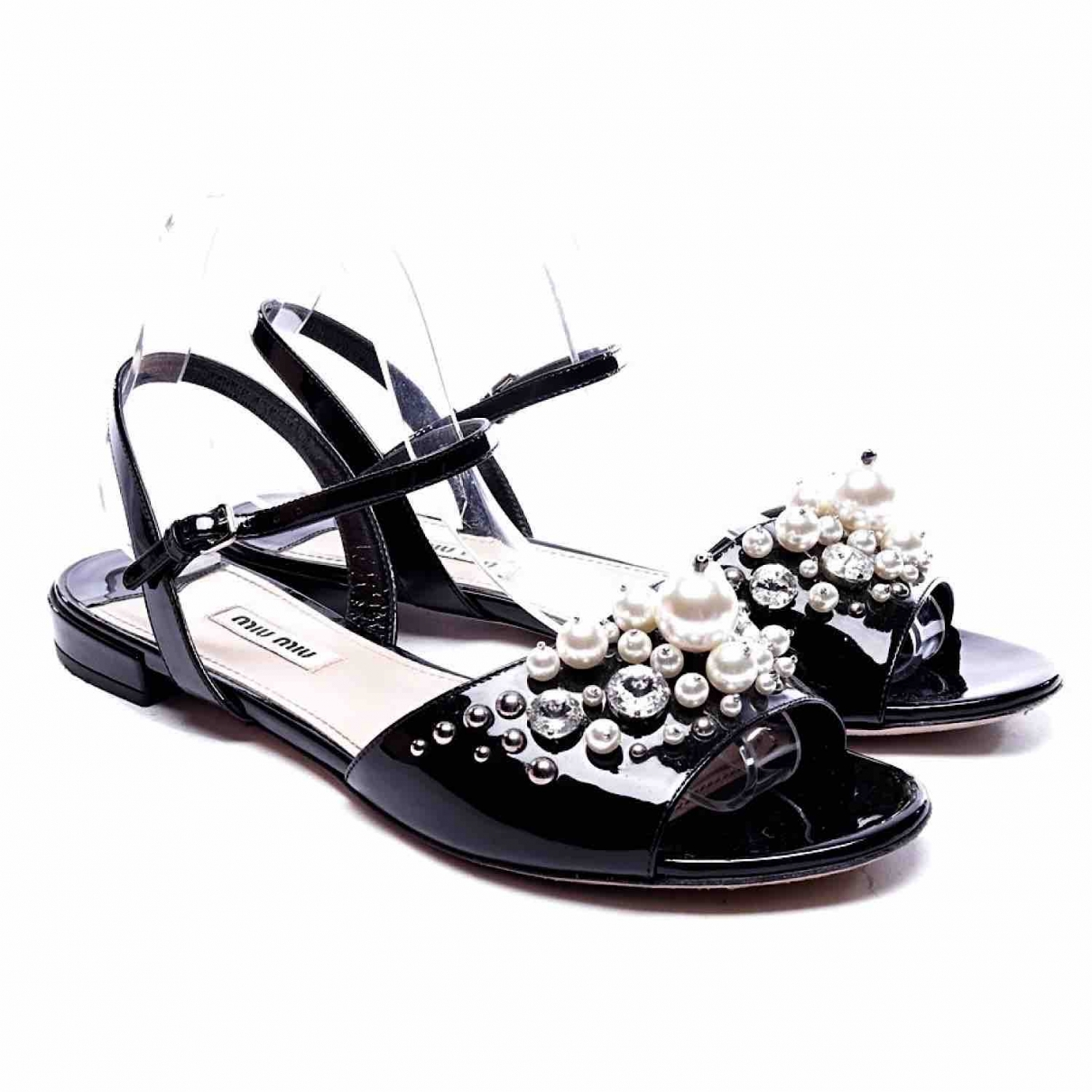 Miu Miu \N Black Leather Sandals for Women 40 EU
