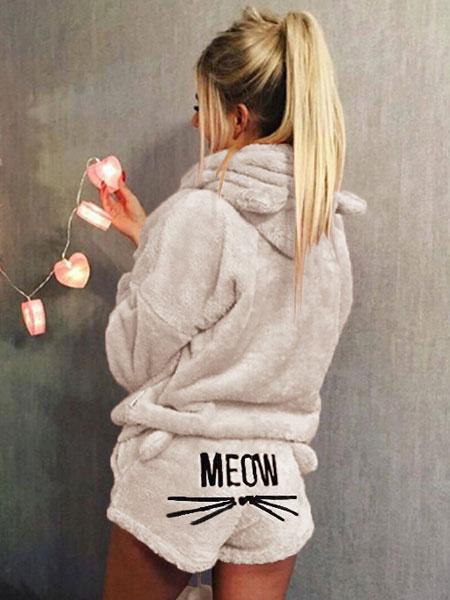 Milanoo Cat Pajamas Onesie Teddy Bear Flannel Cat Ears Embroidered Sleepwear Loungewear