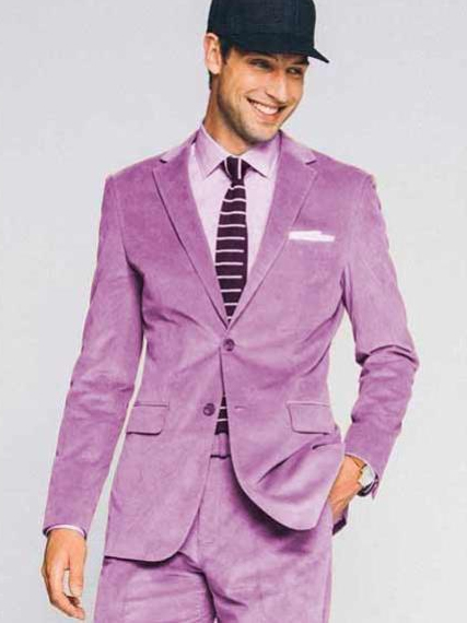 Men's Lavender Velvet 2 Button Notch Lapel CORDUROY SUIT Sportcoat