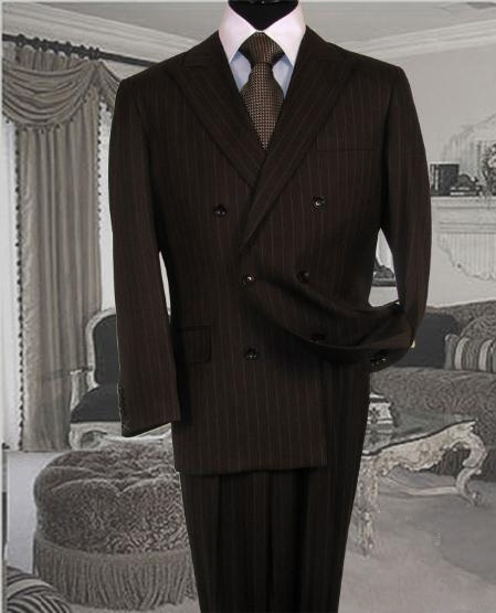 Brown Suit with Non Back Vent Close Split In Back With Pleated Pants