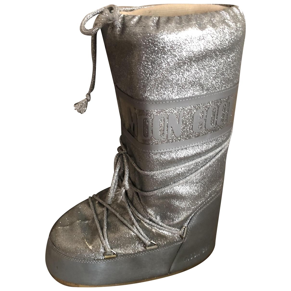 Moon Boot \N Stiefel in  Silber Leinen
