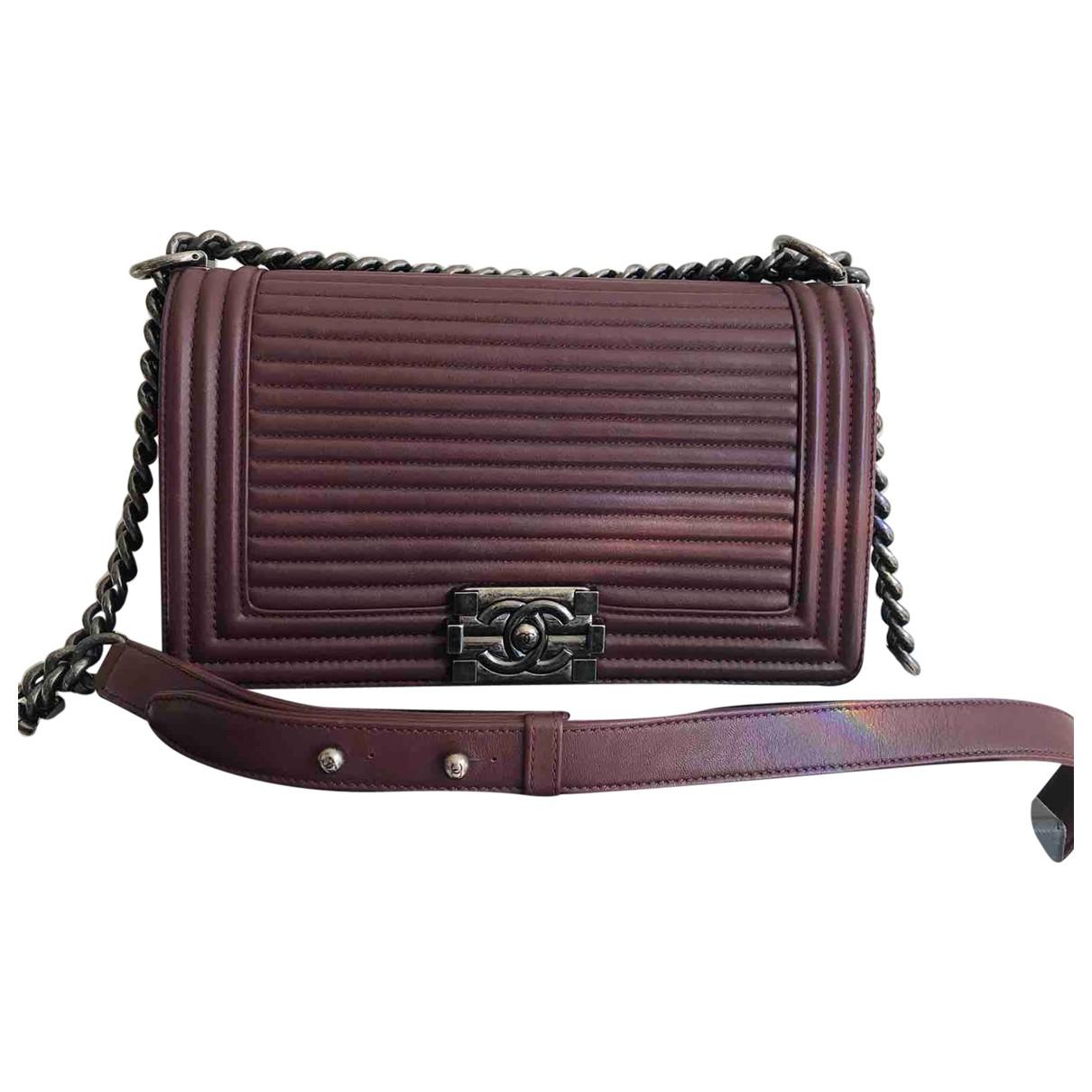Chanel Boy Burgundy Leather handbag for Women N