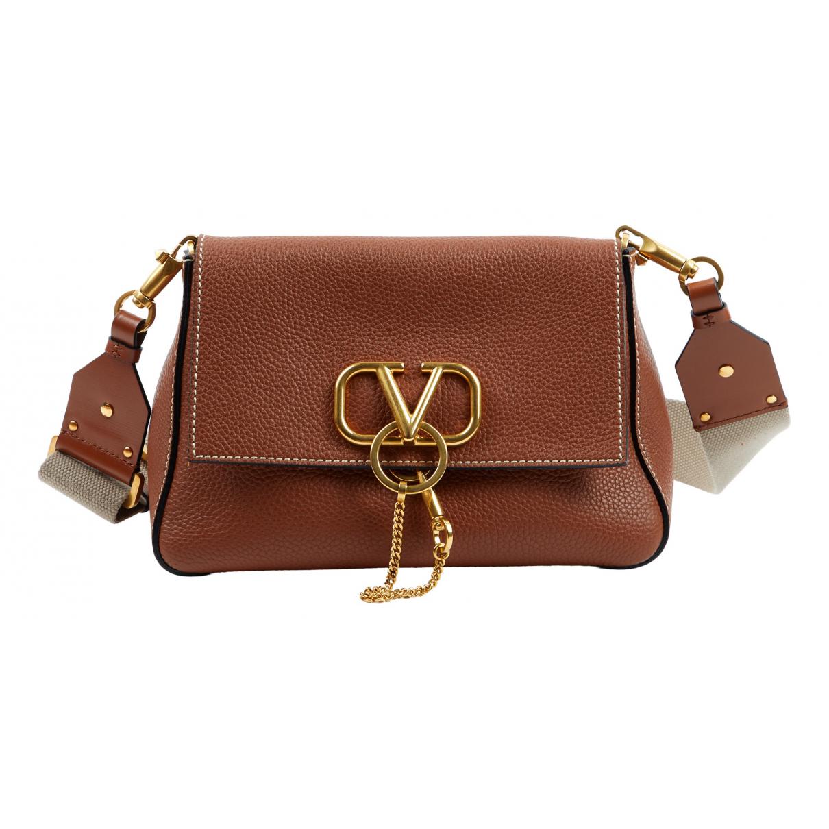 Valentino Garavani Vring Handtasche in  Braun Leder