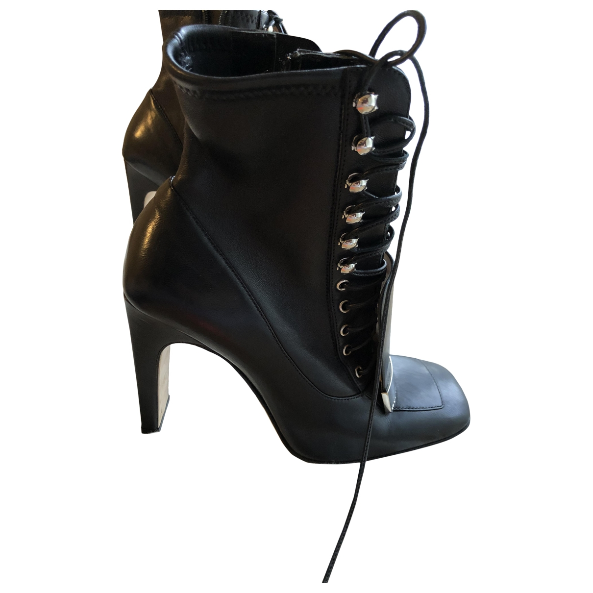 Sergio Rossi \N Black Leather Ankle boots for Women 37 EU