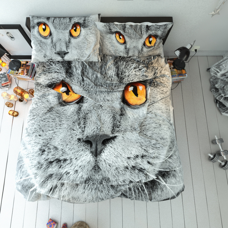 Cat Face Reactive Printing Duvet Cover Set Three-Piece Set Polyester Bedding Sets
