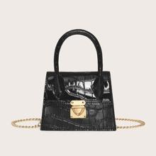 Mini Top Handle Patent Satchel Bag