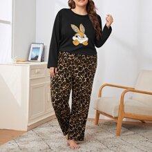 Conjunto de pijama top con estampado de dibujos animados con pantalones de leopardo