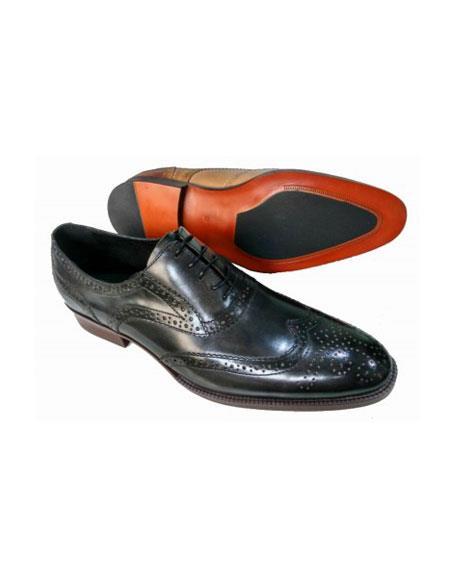 Mens Lace Up Five Eyelet Lacing Black Shoe