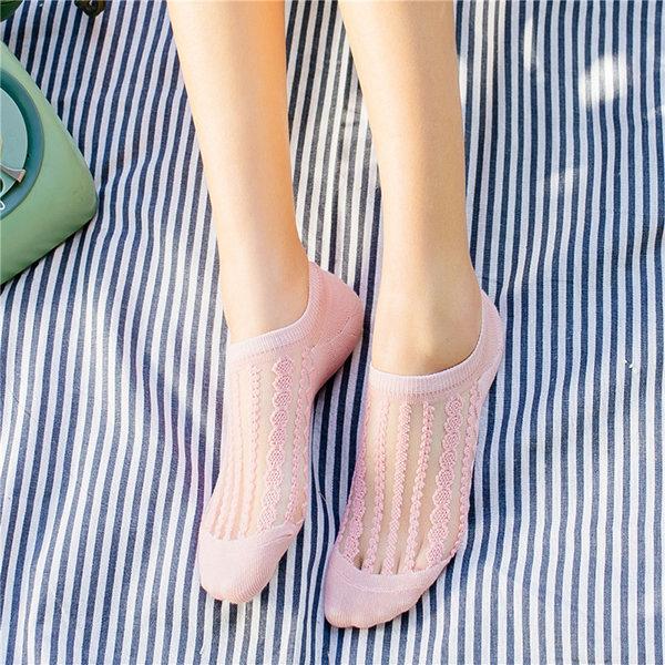 Women Summer Transparent Breathable Boat Socks Solid Color Stripe Ankle Socks