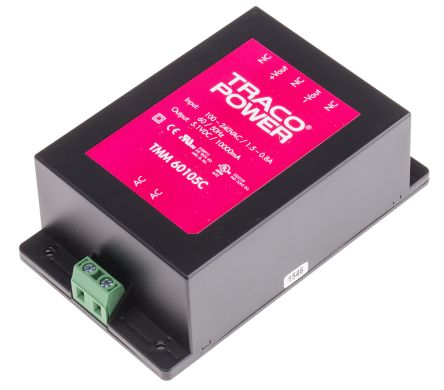 TRACOPOWER , 51W Embedded Switch Mode Power Supply SMPS, 5.1V dc, Encapsulated, Medical Approved