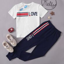 Boys Striped and Letter Tee and Sweatpants Set