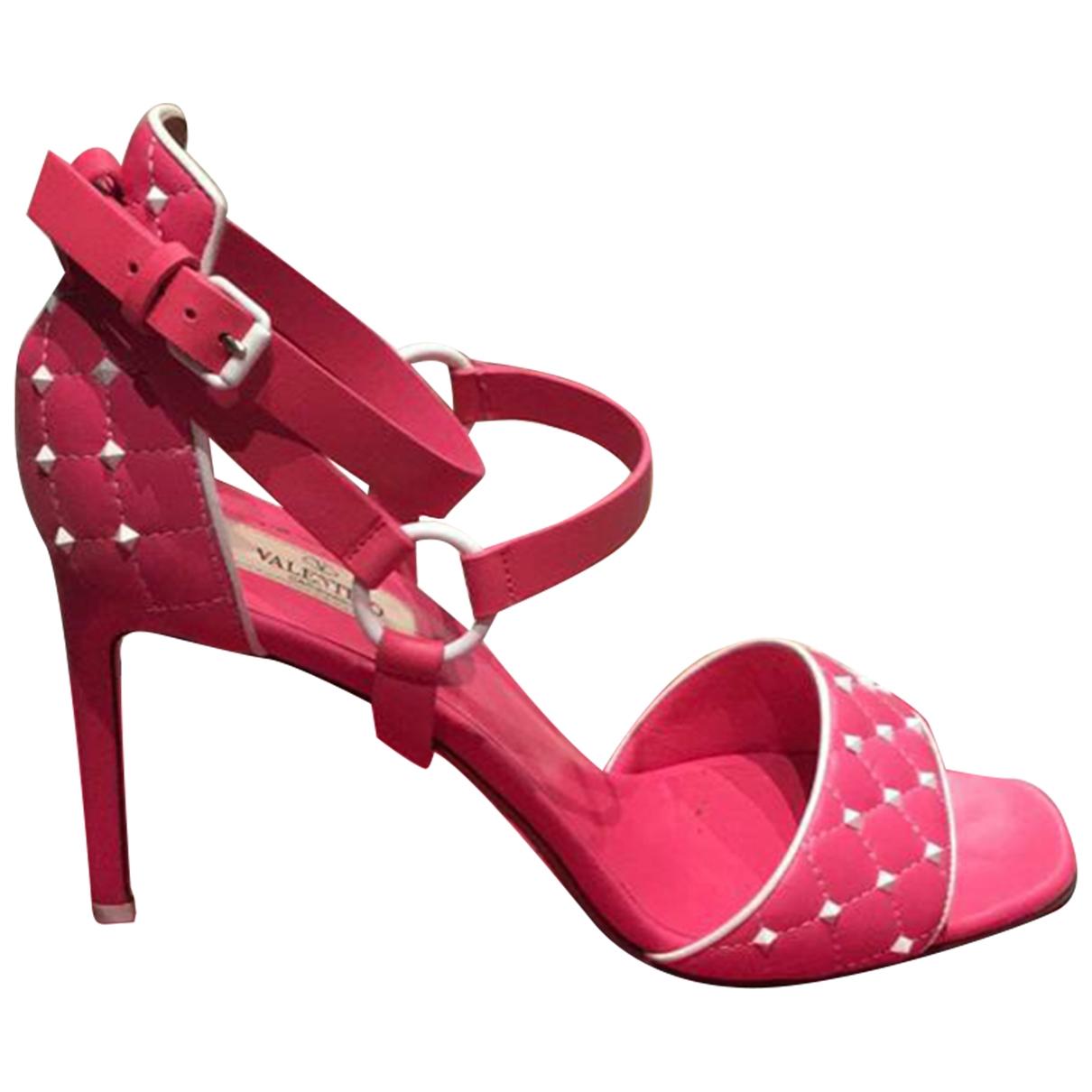 Valentino Garavani Rockstud Spike Pink Leather Sandals for Women 40.5 EU