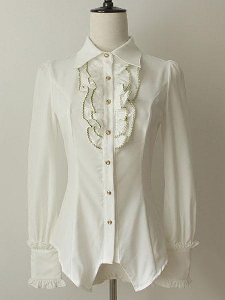 Milanoo Camisa de algodon acanalado blanco Chic Lolita para mujeres