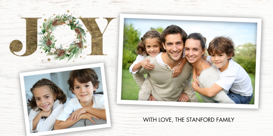 Christmas Photo Cards 4x8 Flat Card Set, 85lb, Card & Stationery -Christmas Gold Joy by Tumbalina
