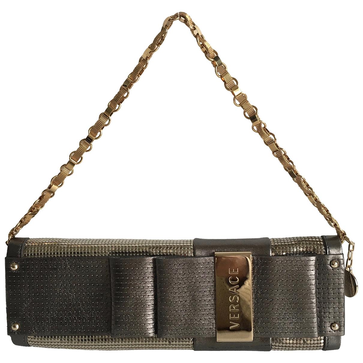 Versace - Pochette   pour femme en cuir - gris