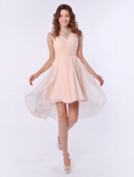 Milanoo Strapless V-Neck A-line Ruffle Chiffon High-Low Design Gold Champagne Bridesmaid Dress