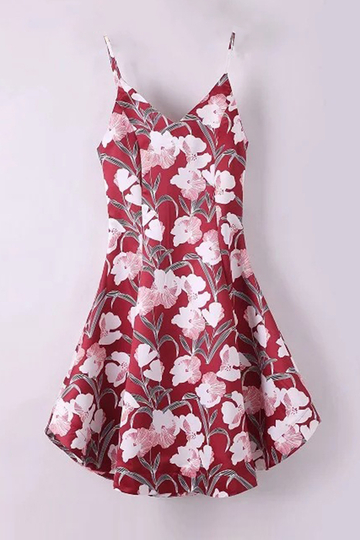 Yoins Vintage Floral Print Curved Hem Cami Midi Dress