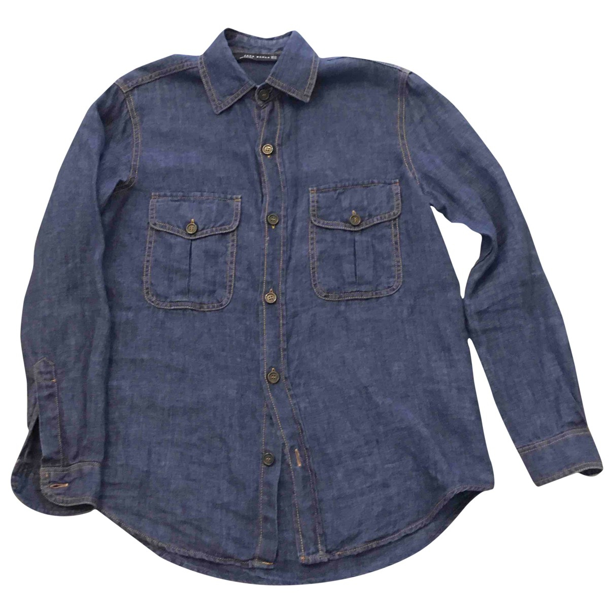 Zara \N Blue Linen  top for Women XS International