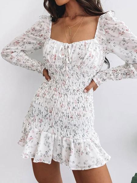 Milanoo White Summer Dress Square Neck Ditsy Printed Chiffon Beach Dress