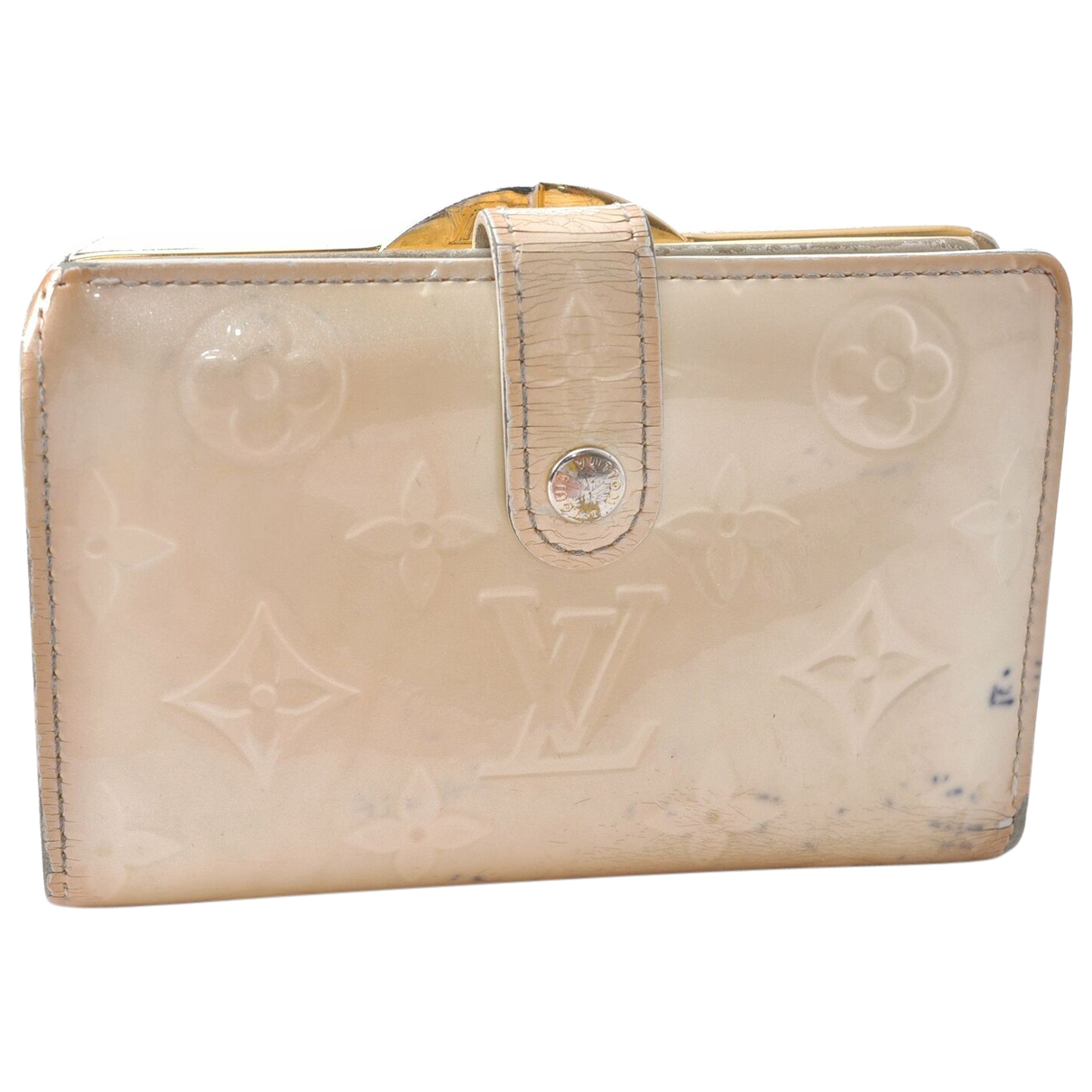 Louis Vuitton - Portefeuille   pour femme en cuir verni - beige