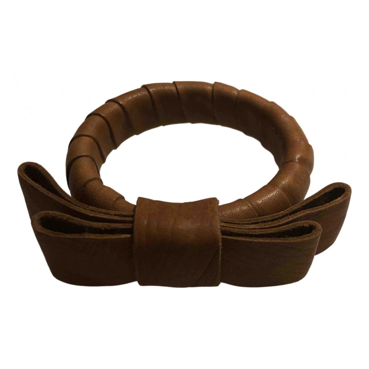 - Bracelet   pour femme en cuir - camel