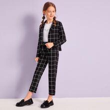 Conjunto de niñas blazer de cuadros con pantalones de cintura con cordon