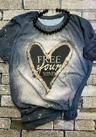 Slogan Graphic Heart Bleached T-Shirt Tee - Navy Blue