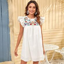 Ruffle Trim Floral Embroidered Dress