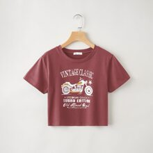 Letter Motorcycle Graphic Crop Tee