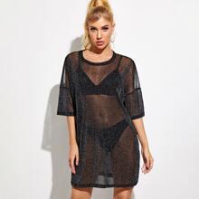Tunika Kleid mit sehr tief angesetzter Schulterpartie und Glitzer