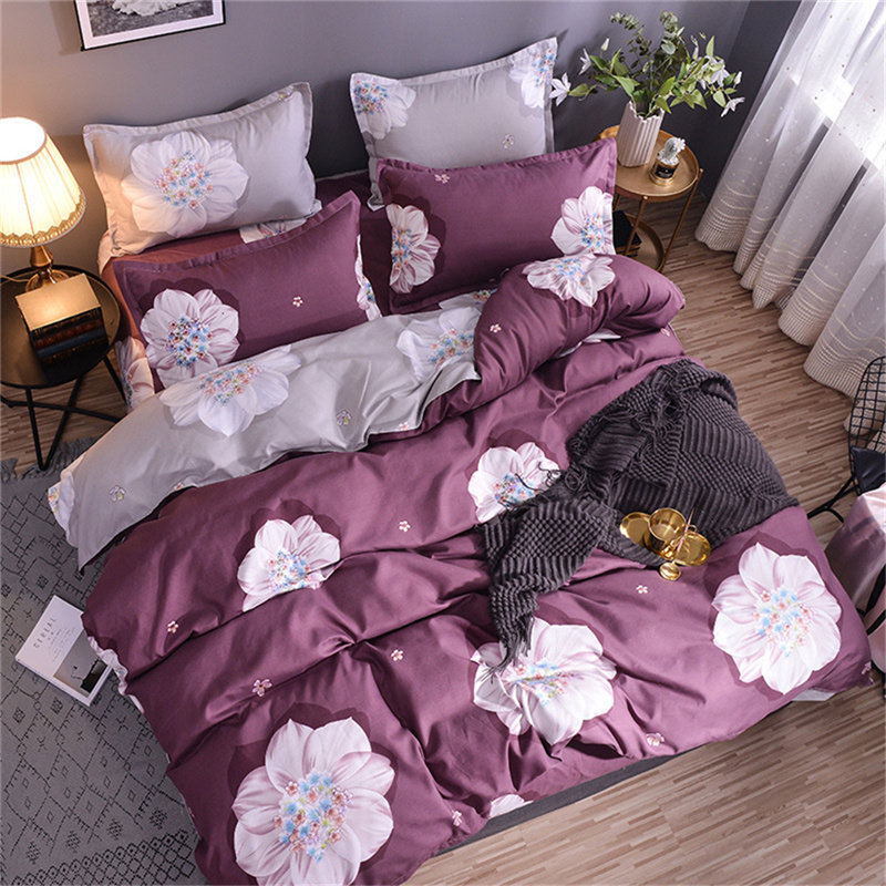 Purple Floral 4pcs Polyester Zipper Bedding Sets Machine Washable Quilting Seam Duvet Cover Set with Corner Ties