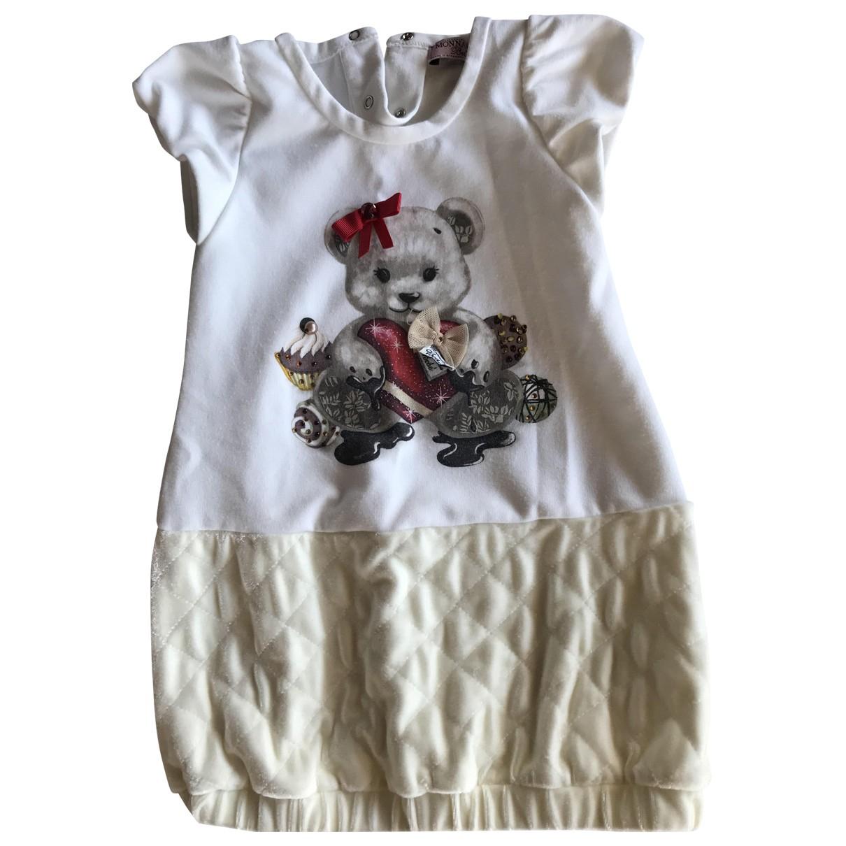 Monnalisa \N Kleid in  Ecru Baumwolle
