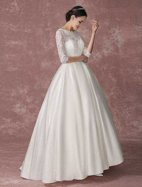 Milanoo Satin Princess Wedding Dress Lace Ball Gown Bridal Dress Half Sleeves Backless Court Train Bridal Dress With Hand Pocket