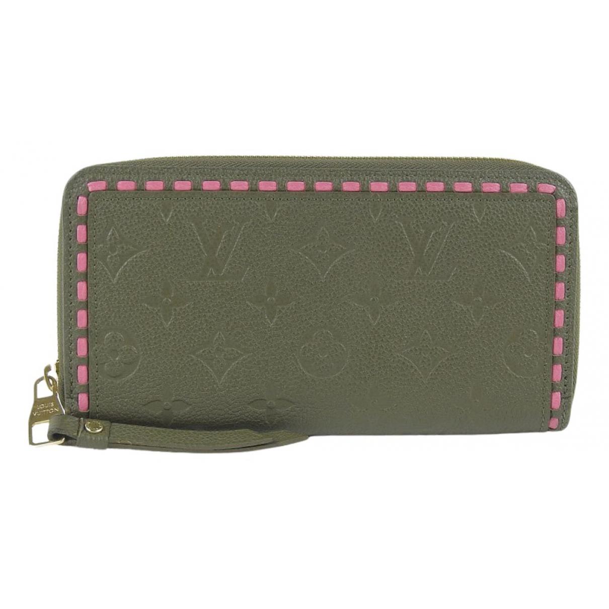 Louis Vuitton - Portefeuille Zippy pour femme en cuir - kaki