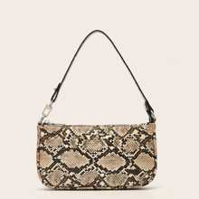 Snakeskin Graphic Baguette Bag