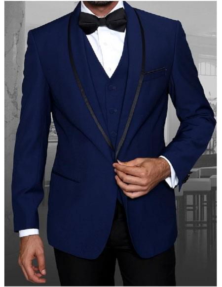 Mens Statement Single Breasted Sapphire Blue ModernFit Tuxedo WoolSuit