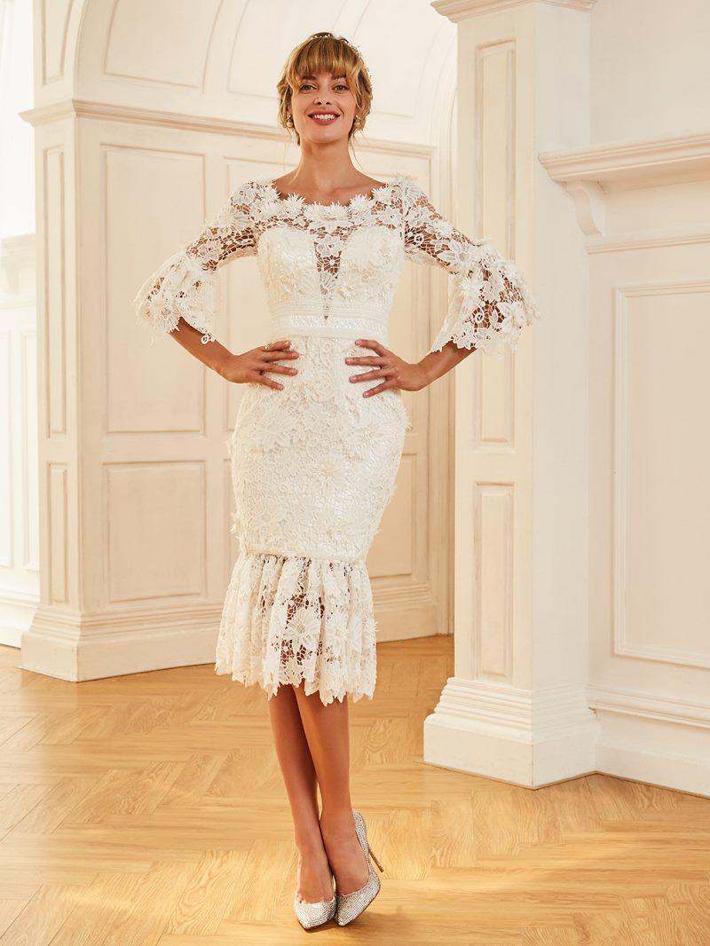 Ericdress Sheath Lace Tea Length Beach Wedding Dress with Sleeves