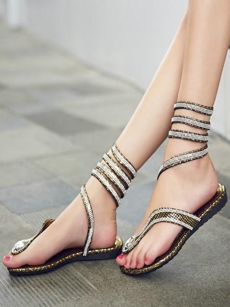 Yoins Gliter Snakeskin Pinch Round Toe Sandals