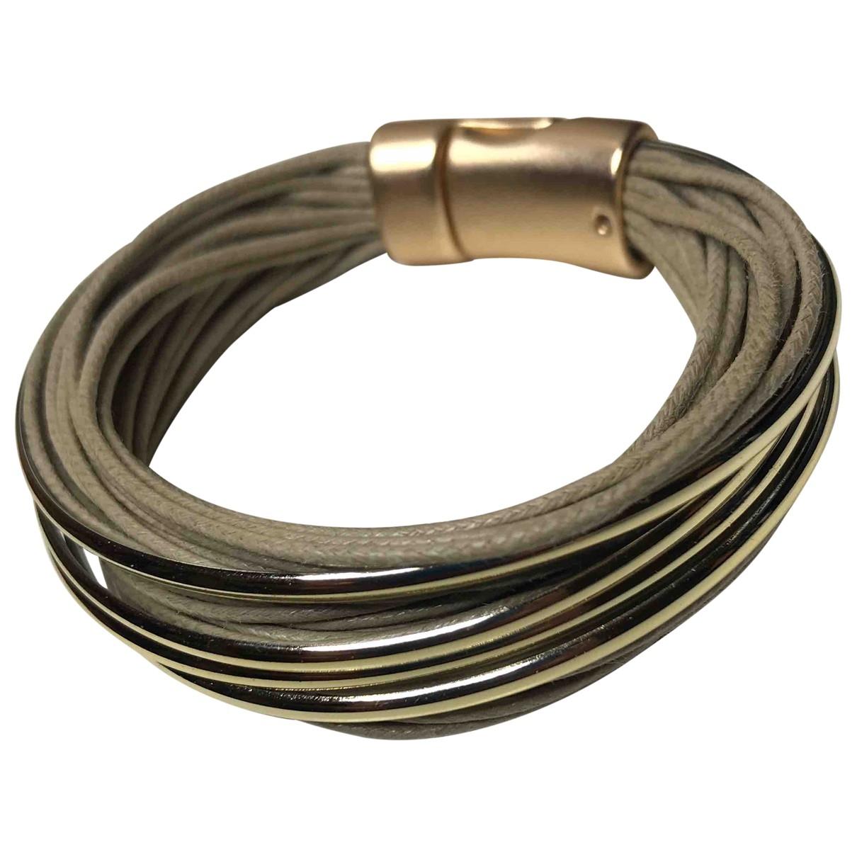 - Bracelet Motifs Ethniques pour femme en cuir - beige