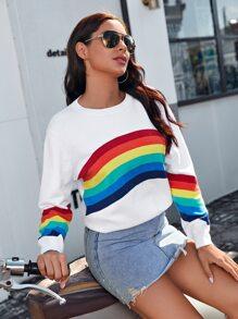 Rainbow Stripe Drop Shoulder Sweater