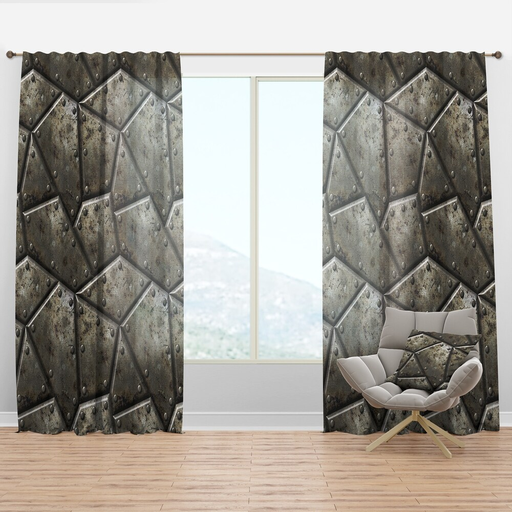 Designart 'Armor Texture' Bohemian & Eclectic Curtain Panel (50 in. wide x 120 in. high - 1 Panel)